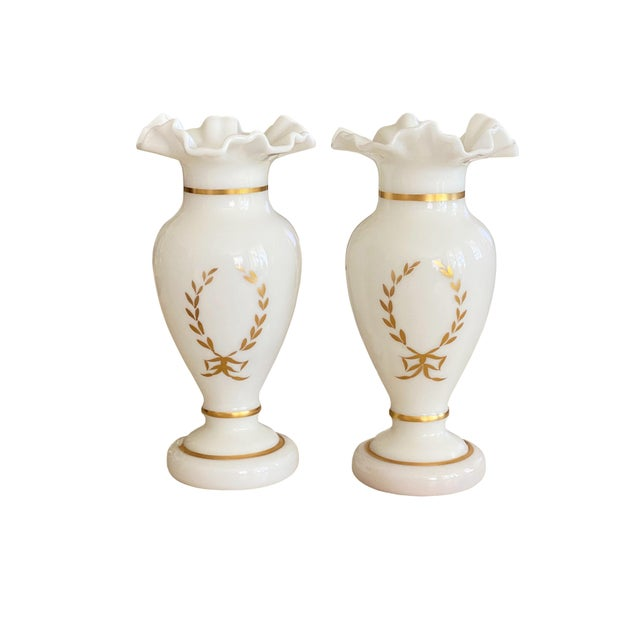 Antique White and Gilt Opaline Vases - a Pair For Sale - Image 4 of 8