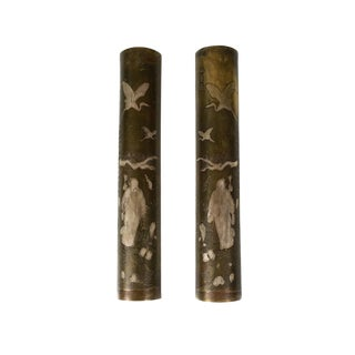 19th Century Japanese Mixed Metal Scroll Weights - a Pair For Sale