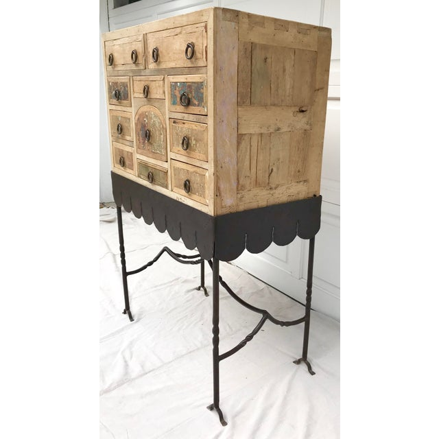 Folk Art Arte De Mexico Cabinet With Custom Iron Stand For Sale - Image 4 of 7