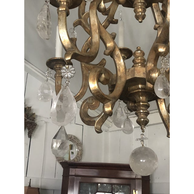2010s Giltwood Chandelier With Very Large Rock Crystals For Sale - Image 5 of 13