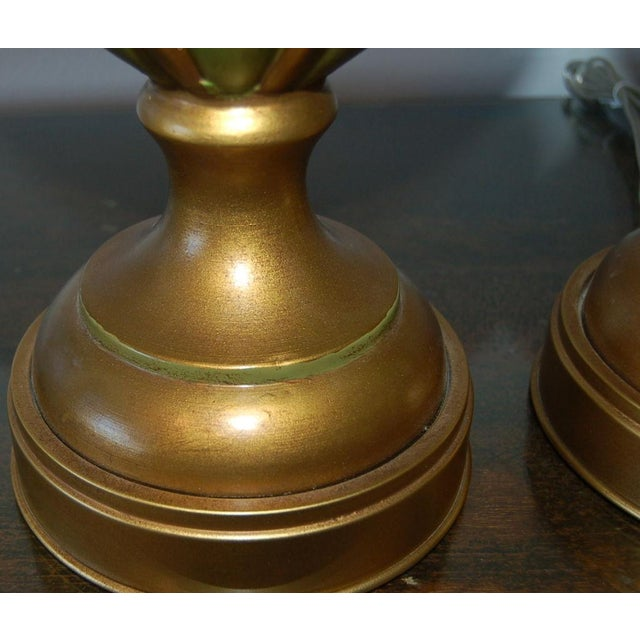 Brass Marbro Italian Ceramic Table Lamps Green For Sale - Image 7 of 10