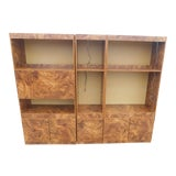 Image of 1960's Mid-Century Modern Burlwood Laminate Wall Unit For Sale
