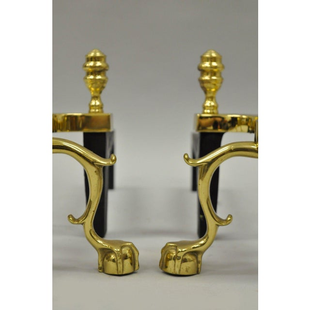 Chippendale Williamsburg Style Branch Foot Ball & Claw Andirons - A Pair For Sale - Image 3 of 13