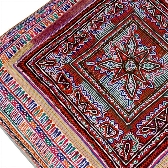 Mid 20th Century Rabari Textile Upholstered Ottoman For Sale - Image 5 of 6