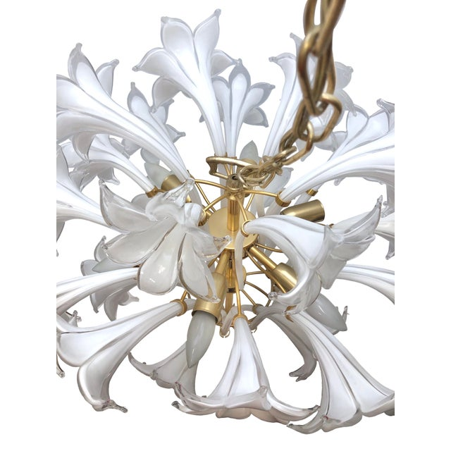 Brass and White Murano Lily Chandelier For Sale - Image 9 of 12
