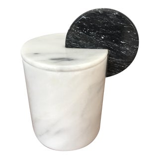Vintage Marble Memphis Style Canister With Lid