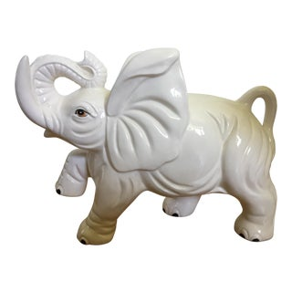 1970's White Porcelain Elephant For Sale
