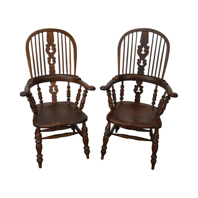 Antique 19th C. English Yew Wood Windsor Arm Chairs - Pair - Image 1 of 10