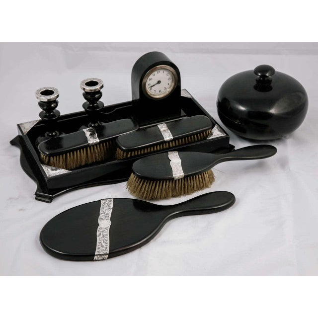 PLEASE UPDATE DIMENSIONS. DIMENSIONS ARE CURRENTLY A PLACEHOLDER. Ebony & silver gentleman's grooming set - clock, candle...