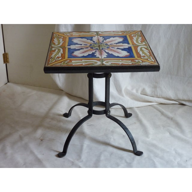 Hand Painted Tile Side Table - Image 2 of 4