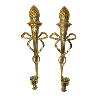 Vintage French Empire Brass Wall Sconces - A Pair