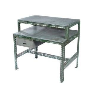 Vintage Industrial Steel Desk in Green For Sale