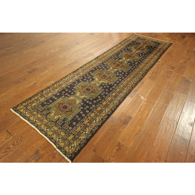 "Navy & Tan Balouch Runner Rug - 2'11"" x 9'9"" - Image 4 of 10"