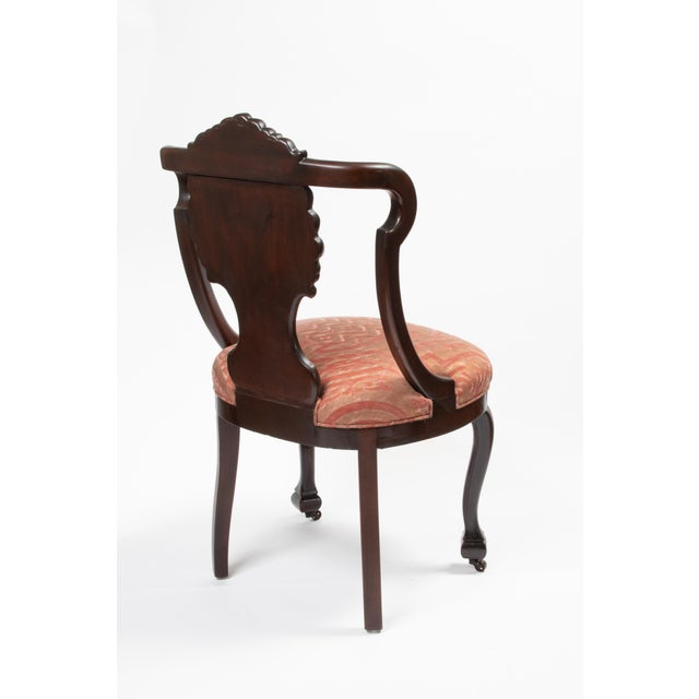 1900 - 1909 Mahogany Antique Chairs in Fortuny Fabric For Sale - Image 5 of 9