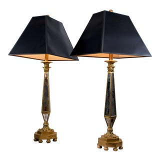 1960s Mirrored Lamps - a Pair For Sale