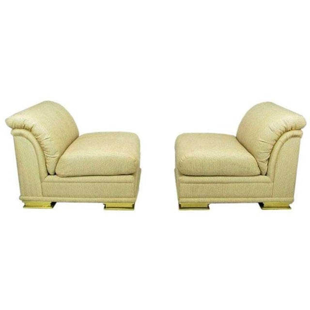 Henredon Pair of Henredon Deco Revival Slipper Chairs in Taupe Silk and Brass For Sale - Image 4 of 10