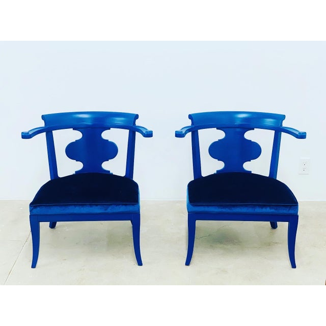 Textile Mid Century Chinoiserie Style Horseshoe Chairs Redefined in Klein Blue - a Pair For Sale - Image 7 of 12