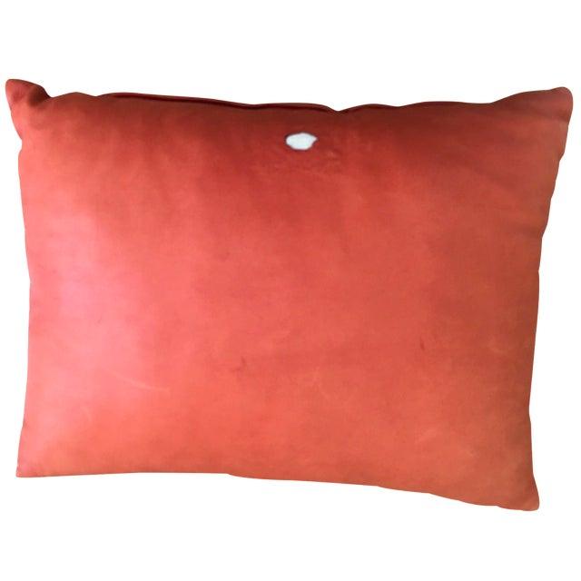 Orange Cowhide Pillow - Image 1 of 6