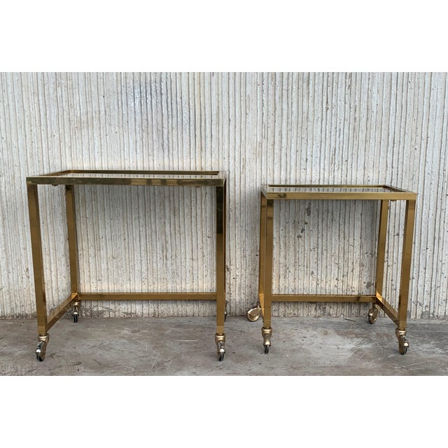 Nesting Tables Italian Design 1970 in Brass With Smoked Glass and Wheels - a Pair For Sale - Image 4 of 11