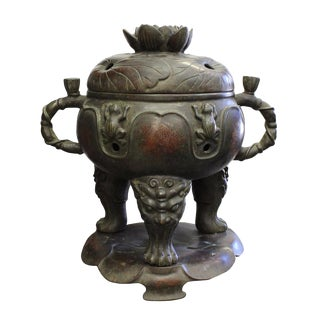 Vintage Chinese Lotus Theme Metal Ding Shape Incense Burner For Sale