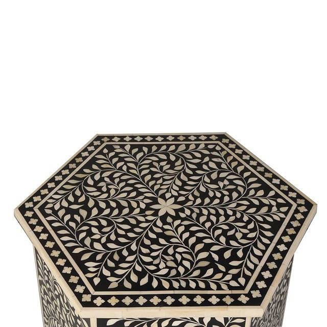 Contemporary Imperial Beauty Moroccan Accent Table in Black/White For Sale - Image 3 of 5