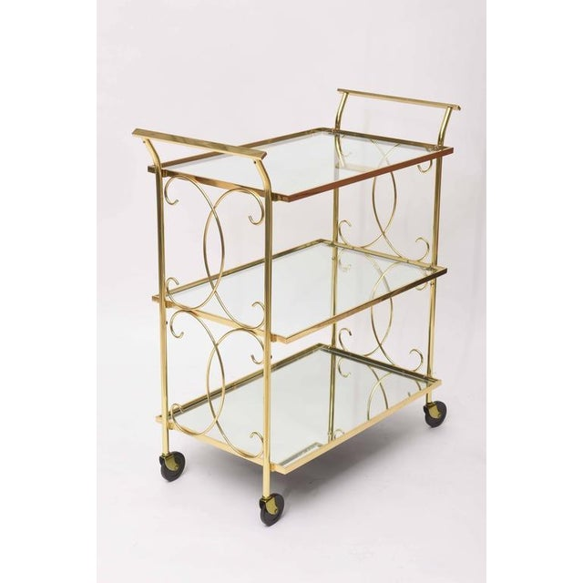 Mid-Century Italian Brass Bar Cart For Sale In Miami - Image 6 of 10
