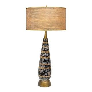 Mid-Century Atomic Porcelain Black & Gold Table Lamp W/ Fiberglass Shade For Sale