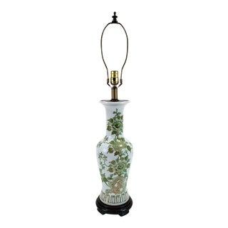 Vintage Japanese Green & White Chrysanthemum Kutani Pottery Lamp For Sale