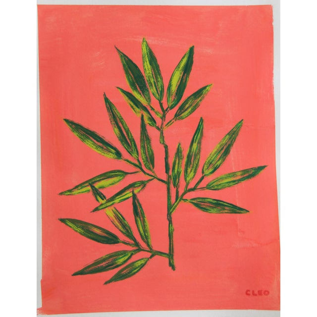 Contemporary Chinoserie Botanic Tropical Leaves Painting by Cleo Plowden For Sale - Image 3 of 11