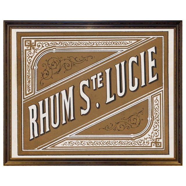 Brass Lithograph of Antique Rum Label From the French West Indies in New Framing For Sale - Image 8 of 8