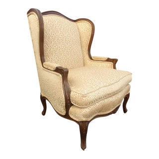 Vintage French Leopard Cheetah Print Gold Wing Back Bergere Chair For Sale