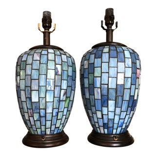 Arts and Crafts Geometric Blue Stained Glass Lamps - a Pair For Sale