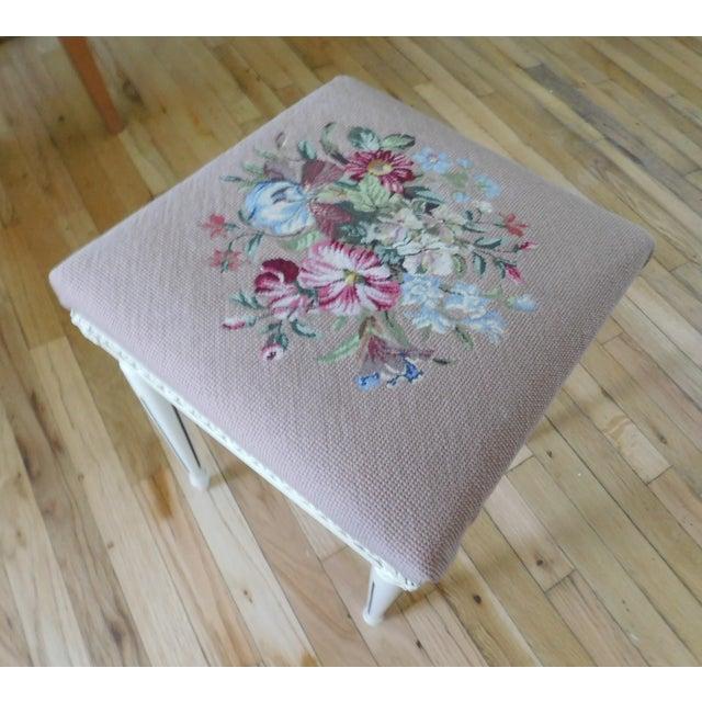 Blue Vintage Petit Point Floral Bench/Table For Sale - Image 8 of 13