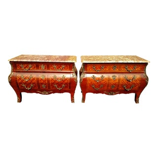 Antique FRENCH Bronze Mounted & Inlaid Bombe Dresser Chests - a Pair