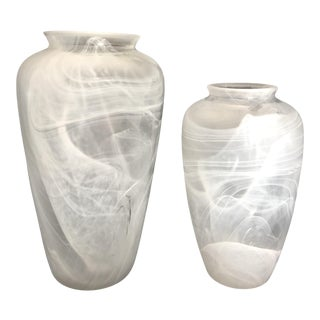 Late 20th Century Vintage German Zwiesel White Glass Vases - a Pair For Sale