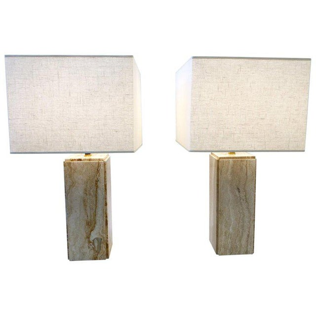 Italian Travertine and Brass Table Lamps - a Pair For Sale - Image 10 of 10