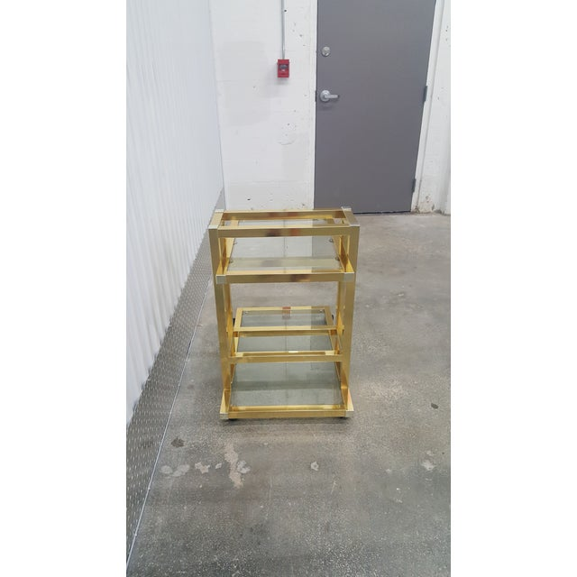 Metal Vintage Brass Bar Cart. For Sale - Image 7 of 13