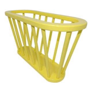 Mid-Century Modern Electric Yellow Metal Magazine Rack For Sale