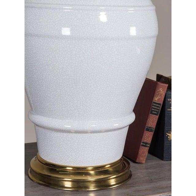 Paul Hanson Vintage Crackle Glaze Enormous Ceramic Lamp circa 1950 For Sale - Image 4 of 5