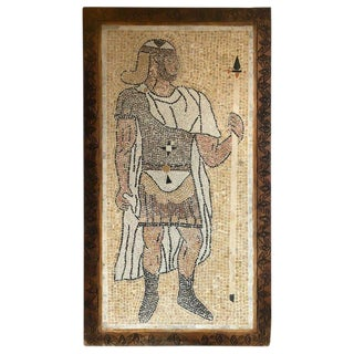 Micro Mosaic Tile Wall Plaque or Table Top of a Centurion in Wood Frame For Sale