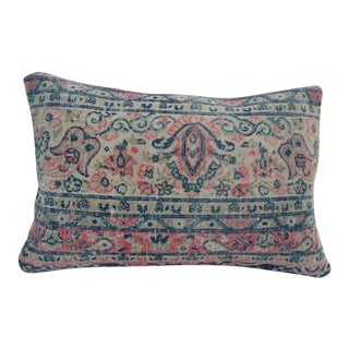 Vintage Handmade Blue and Coral Turkish Kilim Pillow Cover For Sale