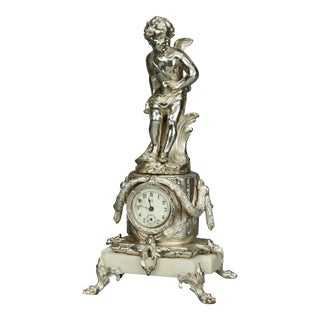Neoclassical Jennings Silver Gilt and Marble Figural Cherub Clock For Sale