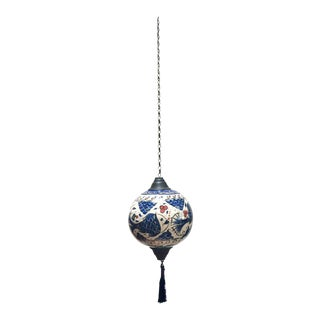 Turkish Kutahya Pottery Polychrome Hand Painted Ceramic Hanging Ornament For Sale