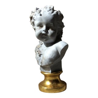 1900s French Neoclassical Plaster Bust of a Cherub For Sale