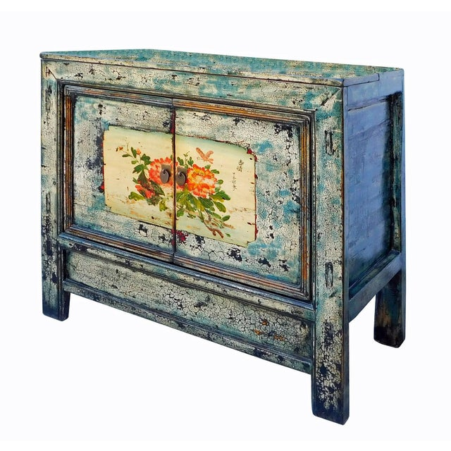 Chinese Floral Cabinet in Crackle Blue - Image 6 of 8