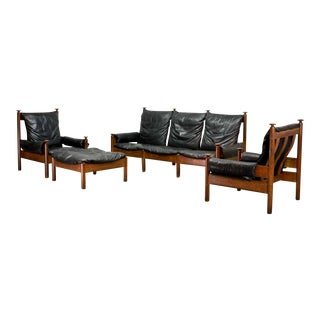 Mid-Century Scandinavian Modern Sturdy Designed Black Leather and Handcrafted Oak Sofa Set, Chairs and Ottoman, 1960s