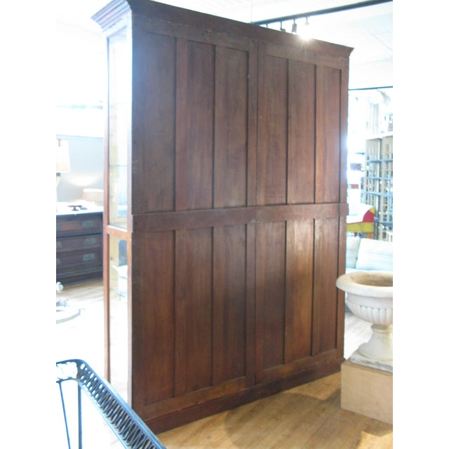 Large Antique Late 19th C. Oak and Glass Display Cabinet For Sale - Image 4 of 8