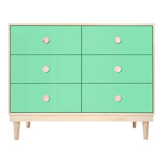 Nico & Yeye Lukka Modern Kids 6 Drawer Dresser Maple Mint For Sale