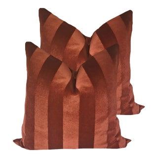Cinnabar Striped Mohair Velvet Pillows - a Pair For Sale