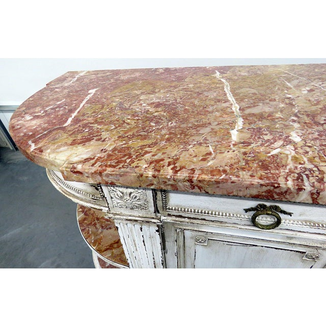 Antique Marble Top Paint Decorated Sideboard For Sale In Philadelphia - Image 6 of 10